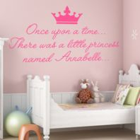 Personalised Once Upon a Time Princess ~ Wall sticker / decals